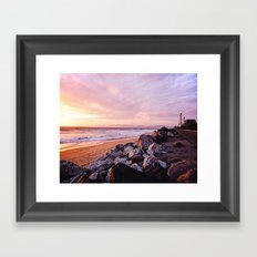 Vibrant Sunset over the Stacks at Huntington Beach, California Framed Art Print