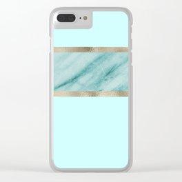 Aqua marble azure stripe Clear iPhone Case