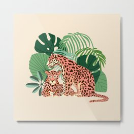 Blush Jaguars #illustration #wildlife Metal Print