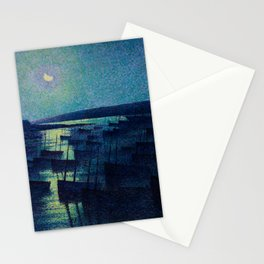 Camaret, Moonlight and Fishing Boats, nautical landscape painting Maximilien Luce  Stationery Cards