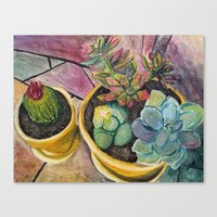 cacti Canvas Prints featuring Cacti by Emily Kenney