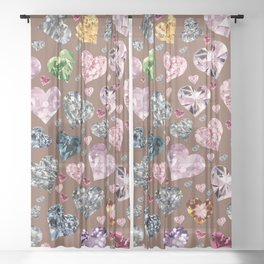 Heart Diamonds are Forever Love Brown Sheer Curtain