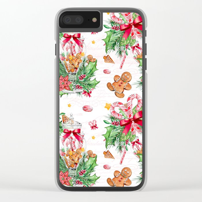 Christmas gingerbread candy cane Clear iPhone Case