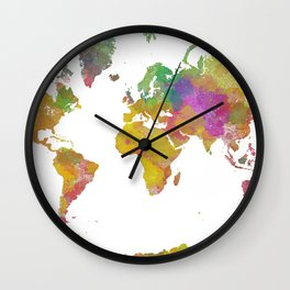 Map of the World - Watercolor 5 Wall Clock