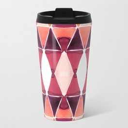 Art Deco Triangles Orange Travel Mug