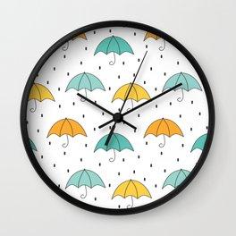 cute cartoon autumn pattern with umbrellas and rain Wall Clock