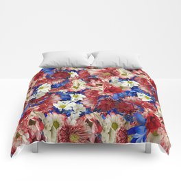Red White Blue Flora Comforters