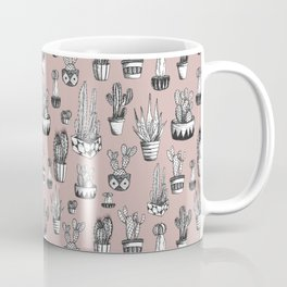 Cactus Repeat Pattern in Blush Coffee Mug