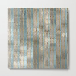 Reflected Moon Falling Rain Gold Pewter Blue Metal Print