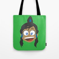 the legend of korra Tote Bags featuring Korra by tukylampkin