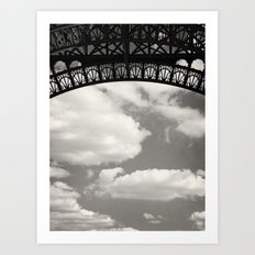 Black Lace of Eiffel Tower Art Print