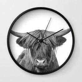 Portrait Scottish Highland Cow Animal Photograph Black and White Wall Clock