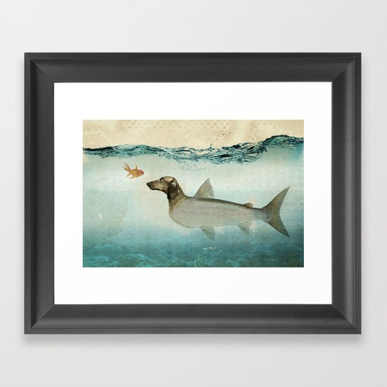 Dog Fish Framed Art Print