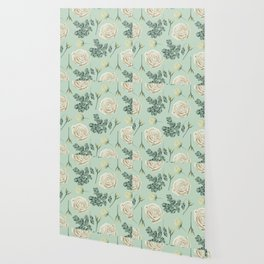 Rose Pattern Cream + Mint Green Wallpaper
