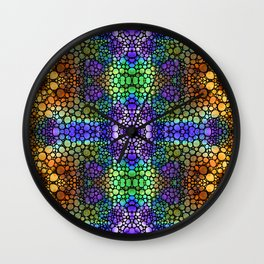 Heart Star - Colorful Mosaic Spiritual Art By Sharon Cummings Wall Clock