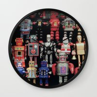 army Wall Clocks featuring Robot Army by derek banks