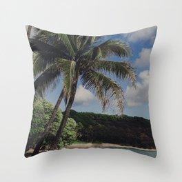 Hawaii Haze - Tropical Beach with Palm Trees Throw Pillow