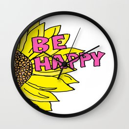 Sunflower  Be Happy Wall Clock