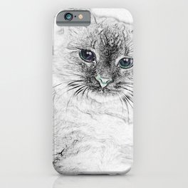 Siberian Kitty Cat Laying on the Marble Slab iPhone Case