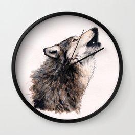Grey wolf Wall Clock