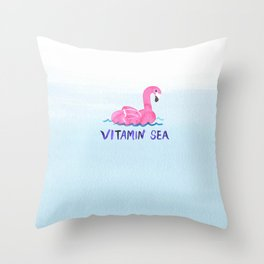 vitamin sea vitamin C love beach summer vibe bird cute hot style new 2018 2019 blue wave seas ocean Throw Pillow