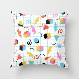 Clutch - memphis 80s style retro throwback cubes geometric triangles 1980's pattern Throw Pillow