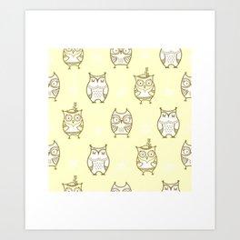 Yellow Owls Art Print