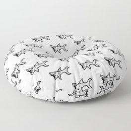 Black and White Sharks Floor Pillow