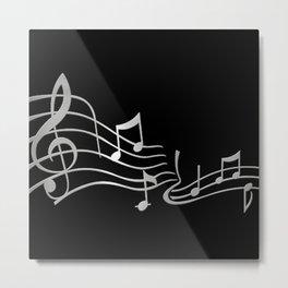 Silver Metallic Music Symbols Metal Print