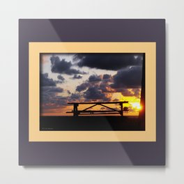 Sunset with Picnic Table Metal Print