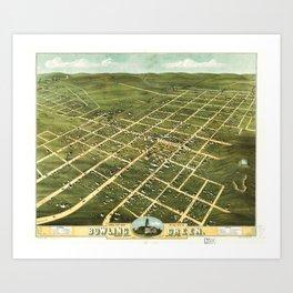 Bird's Eye View of Bowling Green, Kentucky (1871) Art Print