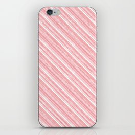 Pink, white diagonal stripes. iPhone Skin
