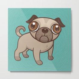 Pug Puppy Cartoon Metal Print