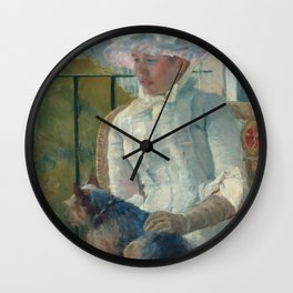 Young Girl at a Window Oil Painting by Mary Stevenson Cassatt Wall Clock