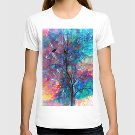 Love Birds Modern Turquoise and Pink Abstract  Wall Art T-shirt