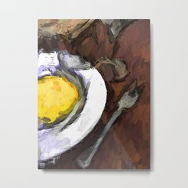 Yellow Lemon in a White Bowl with a Fork and a Wine Glass Metal Print