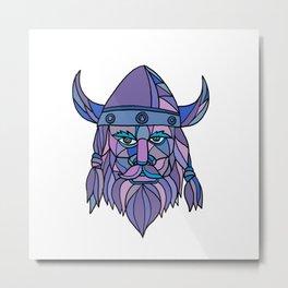 Viking Head Mascot Mosaic Metal Print