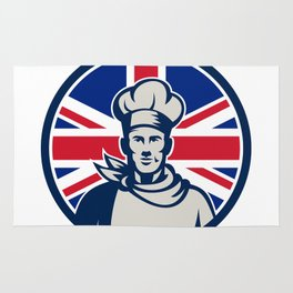 British Baker Chef Union Jack Flag Icon Rug