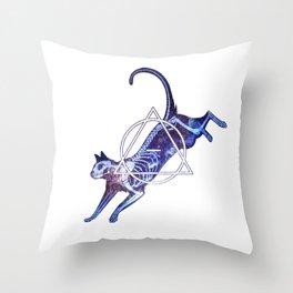 Astral Skeleton Cat Throw Pillow