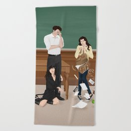 the professor, the pet and the frightened rabbit Beach Towel
