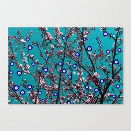 Cherry Blossoms Evil Eyes Canvas Print