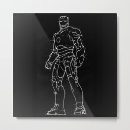 Iron man black background handmade drawing Metal Print