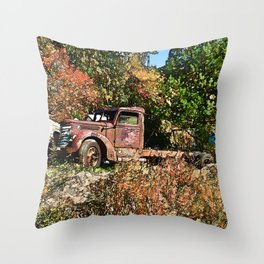 Old Trucker's Ride - Big Rig Truck Throw Pillow