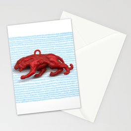 Red panther on blue grass Stationery Cards
