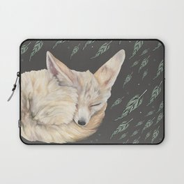 Fennec Fox Feather Dreams in Green & Grey Laptop Sleeve