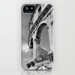 arena amphitheatre pula croatia ancient high black white iPhone Case