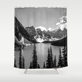 Moraine Lake   Black and White   Landscape Photography   Wildernest Shower Curtain