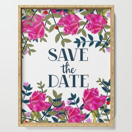 Save The Date vintage Roses Serving Tray