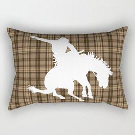 Cowboy and Bronco Plaid Rectangular Pillow