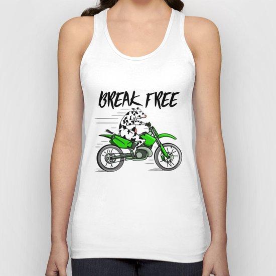 Cow riding a motorbike Unisex Tank Top